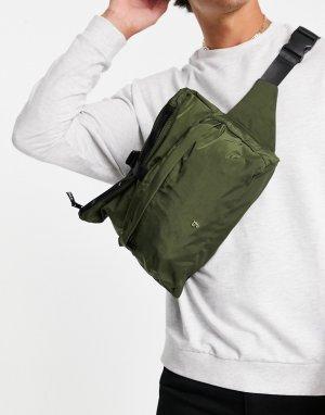 Сумка-кошелек цвета хаки с откидным верхом и застежкой-зажимом -Зеленый цвет Farah