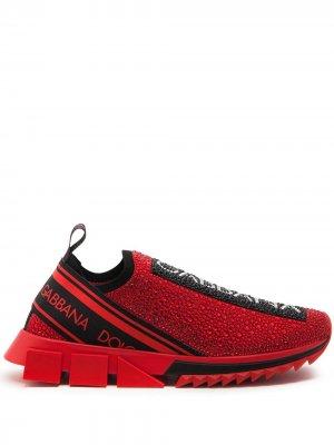 Слипоны Sorrento со стразами Dolce & Gabbana. Цвет: красный