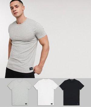 3 футболки (белая, серая и черная) с круглым вырезом логотипом -Черный Abercrombie & Fitch