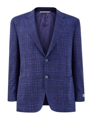 Пиджак в неаполитанском стиле с принтом клетку CANALI. Цвет: синий