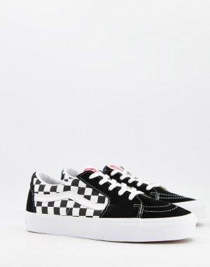 Черные низкие замшевые кеды с шахматным принтом Sk8-Черный Vans