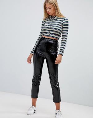 Виниловые брюки Emory Park. Цвет: черный