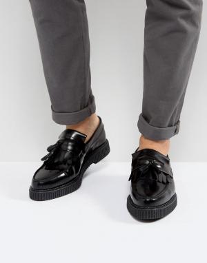 Черные кожаные лоферы на толстой подошве ASOS DESIGN. Цвет: черный