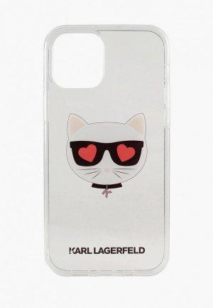 Чехол для iPhone Karl Lagerfeld 12/12 Pro (6.1), PC/TPU Choupette Head Hearts Transp. Цвет: прозрачный