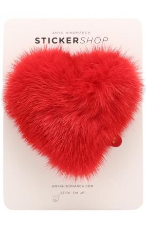 Стикер Heart из меха норки Anya Hindmarch. Цвет: красный