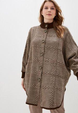 Пончо Milana Style. Цвет: коричневый
