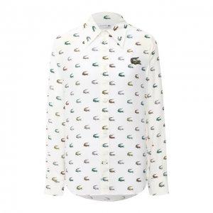 Шелковая рубашка Lacoste. Цвет: белый