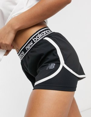 Черные шорты 2 в 1 с логотипом Running-Черный New Balance