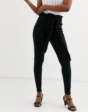 Зауженные джинсы с присборенной талией -Черный Parisian