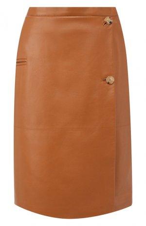 Кожаная юбка Burberry. Цвет: бежевый