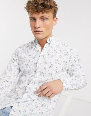 Белая рубашка с длинными рукавами и цветочным принтом -Белый Abercrombie & Fitch