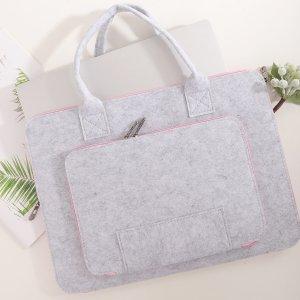 Двухслойная сумка для ноутбука из войлока 13 дюймов SHEIN. Цвет: серый