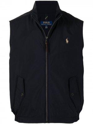 Жилет на молнии с вышитым логотипом Polo Ralph Lauren. Цвет: синий