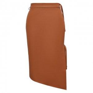 Кожаная юбка Off-White. Цвет: коричневый