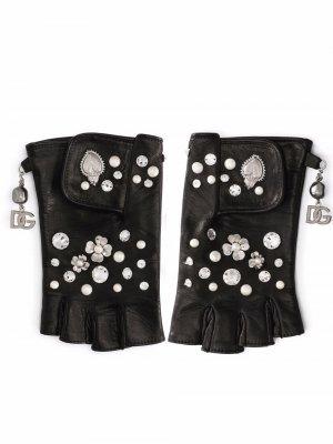 Перчатки-митенки с цветочной аппликацией Dolce & Gabbana. Цвет: черный