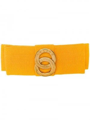 Атласная заколка для волос с логотипом Céline Pre-Owned. Цвет: желтый