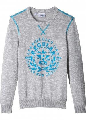 Вязаный пуловер bonprix. Цвет: серый