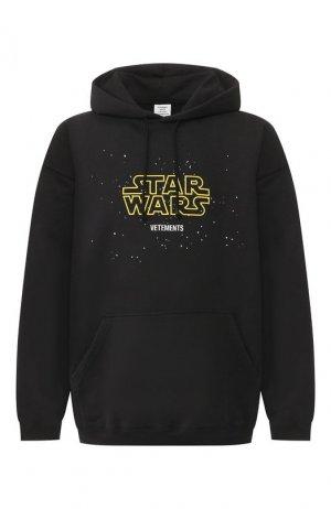 Хлопковое худи Star Wars x Vetements. Цвет: чёрный