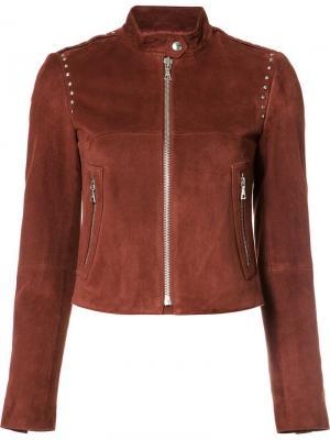 Кожаная куртка с воротником-стойка Theory. Цвет: красный