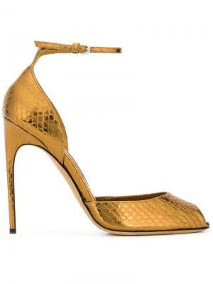 Туфли с эффектом кожи змеи Brian Atwood. Цвет: металлический