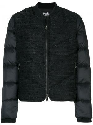 Стеганая дутая куртка-бомбер из букле Karl Lagerfeld. Цвет: чёрный