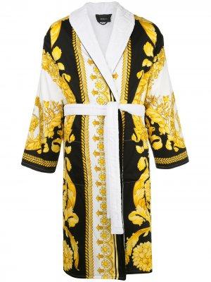Халат с принтом Crete de Fleur Versace Home. Цвет: белый