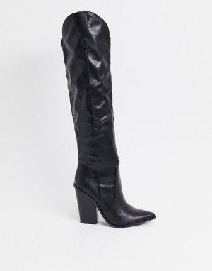 Черные сапоги до колен в стиле вестерн -Черный Steve Madden