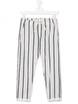 Брюки в полоску с завязками на талии American Outfitters Kids. Цвет: белый