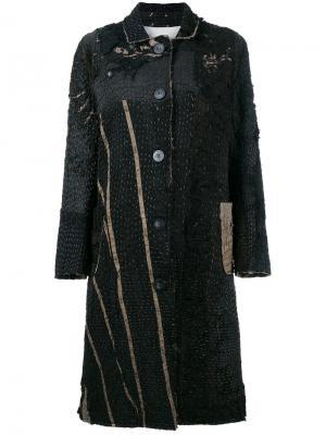 Пальто средней длины в викторианском стиле дизайна пэчворк By Walid. Цвет: чёрный