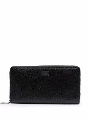 Фактурный кошелек с круговой молнией Dolce & Gabbana. Цвет: черный