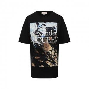 Хлопковая футболка Alexander McQueen. Цвет: чёрный
