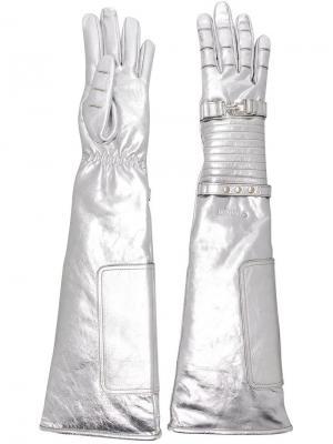 Стеганые перчатки с металлическим отблеском Calvin Klein 205W39nyc. Цвет: металлик