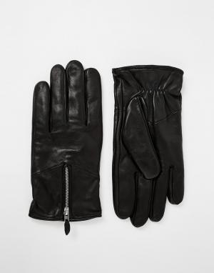 Кожаные перчатки с молниями Nano Royal RepubliQ. Цвет: черный