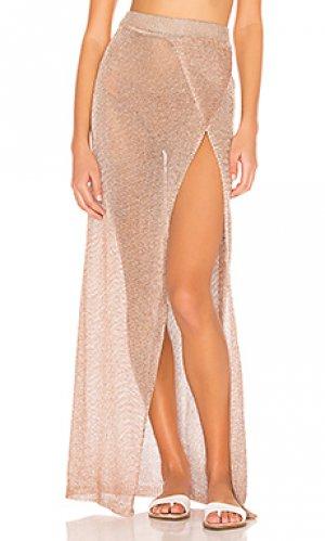 Макси юбка с запахом keva superdown. Цвет: металлический бронзовый