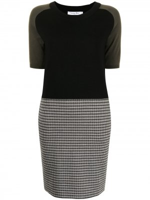 Платье pre-owned в стиле колор-блок Christian Dior. Цвет: черный