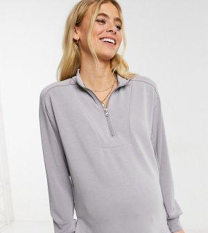 Серый трикотажный свитер с застежкой-молнией от комплекта Pieces Maternity