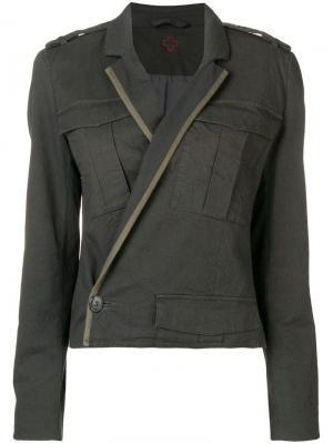 Приталенная куртка с запахом A.F.Vandevorst. Цвет: зеленый