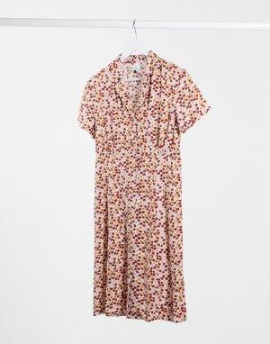 Платье с запахом и принтом -Розовый цвет Blend She