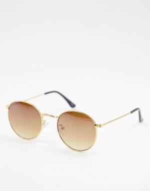 Круглые солнцезащитные очки золотистого цвета в стиле унисекс -Золотистый Jeepers Peepers