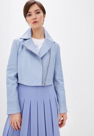 Куртка кожаная Sportmax Code. Цвет: голубой