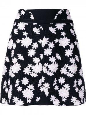 Мини-юбка с цветочной вышивкой Giambattista Valli. Цвет: черный