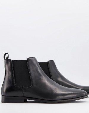 Черные кожаные ботинки челси WALK London alfie-Черный цвет