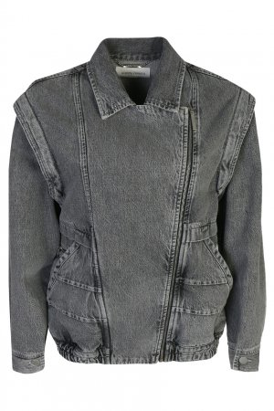 Серая джинсовая куртка Alberta Ferretti. Цвет: серый