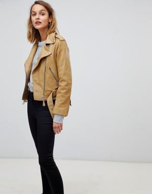 Кожаная байкерская куртка AllSaints. Цвет: коричневый