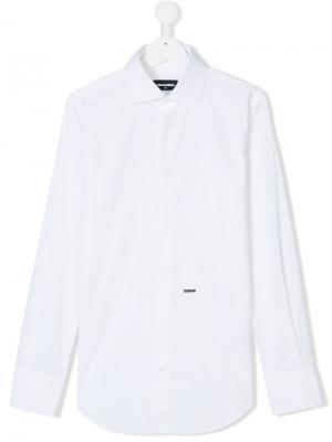 Рубашка с косым воротником Dsquared2 Kids. Цвет: белый