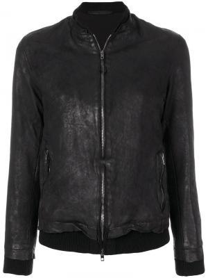 Кожаная куртка с жатым эффектом Salvatore Santoro. Цвет: чёрный
