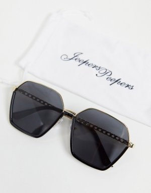 Черные солнцезащитные очки с оправой шестиугольной формы -Черный цвет Jeepers Peepers