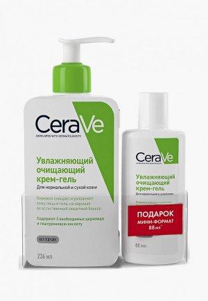 Набор для ухода за лицом CeraVe увлажняющий очищающий крем-гель нормальной и сухой кожи, 236 мл; мини формат 88 мл. Цвет: прозрачный