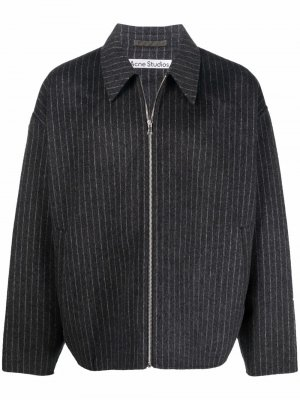 Полосатая куртка на молнии Acne Studios. Цвет: серый