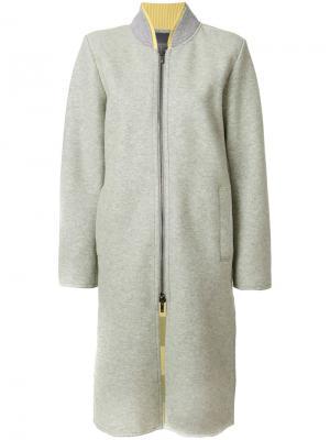 Длинное пальто бомбер Lorena Antoniazzi. Цвет: серый